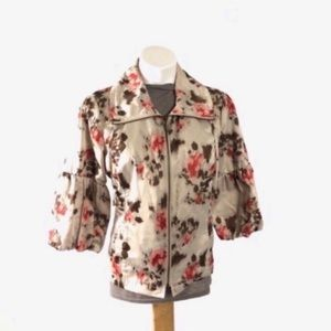 Tribal floral bell sleeve zip light jacket blazer